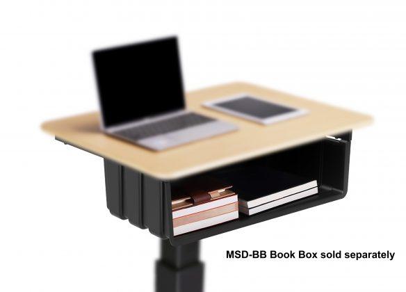 Mobile desk book box add on